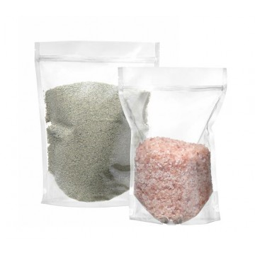 Worki do pakowania typu doypack, transparentne z zamknięciem strunowym, pojemność 1000 ml, opakowanie 100 szt.