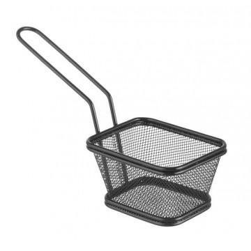 Koszyk miniaturowy do smażonych przekąsek, czarny 105x90x60
