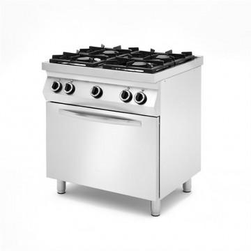 Kuchnie gazowe 4 palnikowe na podstawie z trzech stron zamkniętej, z piekarnikiem gazowym lub elektrycznym z piekarnikiem elektr