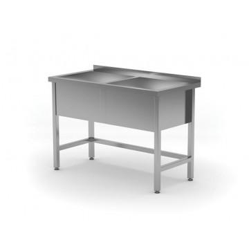 Stół z basenem dwukomorowym - wysokość komory h   300 mm, o wym. 1200x600x850 mm