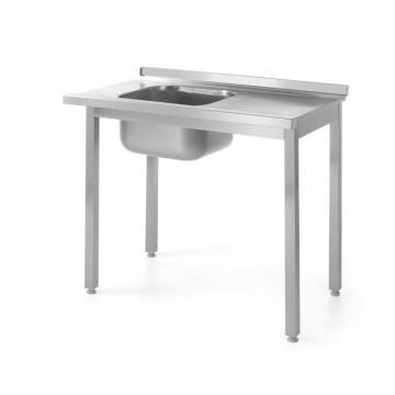 Stół z basenem jednokomorowym - wysokość komory h   400 mm, o wym. 1200x600x850 mm