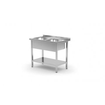 Stół z dwoma zlewami z półką - skręcany, o wym.1000x700x(H)850 mm