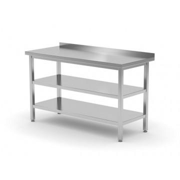 Stół przyścienny z dwiema półkami - skręcany, o wym. 1400x700x850 mm