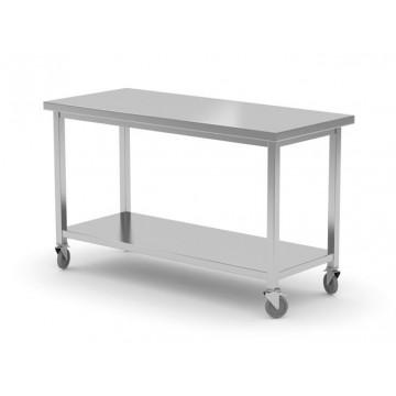 Stół jezdny z półką - skręcany, o wym. 1500x700x850 mm