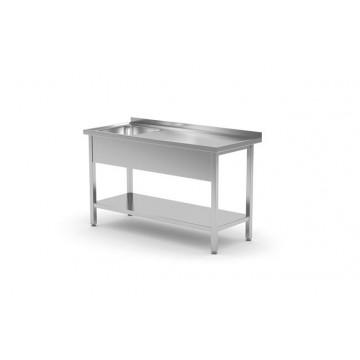 Stół z jednym zlewem z półką, prawy - skręcany, o wym. 800x700x(H)850 mm